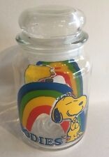 Vintage Snoopy Woodstock Peanuts Jar Glass Canister Treat Container Lid 1965