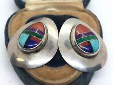 Vintage Sterling Silver Earrings 925 Multi Gemstone Native American