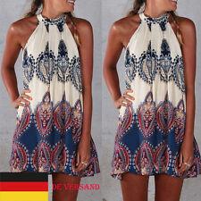 Damenkleid Ärmellos Hippie Minikleid Clubwear Strandkleid Trägerkleid Plus Size