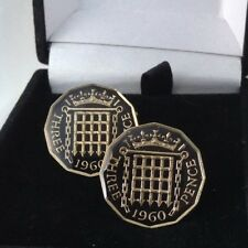 1960 Enamelled Threepence Coin Cufflinks. Black/gold. 58th Birthday/Anniversary