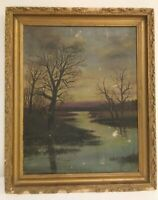 *RARE*  ANTIQUE MARY ALICE  BURTON OIL ON CANVAS PAINTING WOOD FRAME