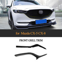 2PCS Glossy Black Front Grill Grille Trim Cover Fit for Mazda CX-5 CX-8 2017-19