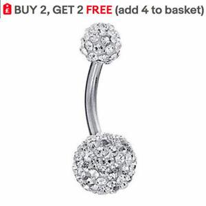 Belly Bars Navel Ring Bar Barbell Shamballa Crystal Gems Body Piercing Jewellery
