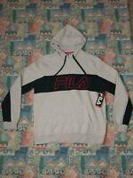 FILA Mens Hoodie Sweatshirt Large White Elite Training Pullover Red Fila Logo