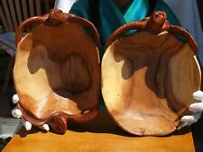 Large Pair of Teak hand carved Turtle bowls from Indonesia High Quality