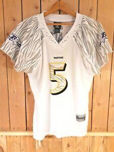 Baltimore Ravens NFL Football Jersey Womens Sz Lrg Reebok Bling White Purple #5