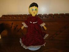 Antique Vintage OOAK Painted Cloth Doll Handmade Stuffed Cotton Velvet Lace Gown