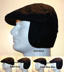 MEN WINTER WOOL IVY FLAT HAT CAP WITH EAR WARMER FLAP  SOLID BLACK GRAY NAVY G70