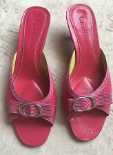 Cole Haan Slip-On Sandals, Kitten Heel Mules, Pink. Sz 6.5 B, Leather, Open Toed