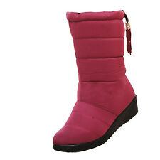 Ladies Womens Warm Fur Lined Winter Midcalf Quilted Waterproof Snow BOOTS Shoes Red UK 4