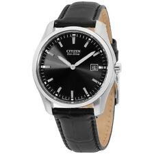Citizen Eco Drive Black Dial Black Leather Men's Watch AU1040 08E