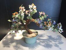 Jade Bonsai Tree Chinese Glass Agate Asian Flowers Celadon Pot Huge
