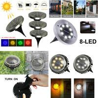 9 LED Solar Powered Ground Lights Outdoor Garden Lawn Floor Patio Decking Lamp