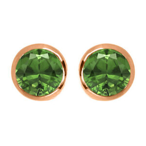 2.0 Ctw Round Green Sapphire 9K Rose Gold Solitaire Women Earring