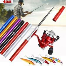 Pocket Fishing Pen Size Rod Reel Line Hook Combos Travel Portable Fish Kits New