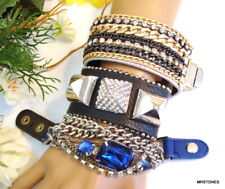 3 PC VINTAGE BRACELET LOT LEATHER STRAP 2 YIK FUNG 1 CARA NY RHINESTONES CHAINS