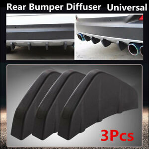 3Pcs Universal Rear Bumper Diffuser Molding Shark Fin Spoiler Black For All Car