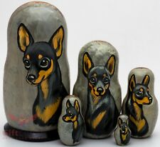 Russian Matryoshka English Manchester Toy Terrier Dog Wood nesting doll toy 5pcs