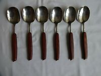 Vintage Ashberry Staybrite Stainless Steel Wood Handles Dessert Spoons x 6