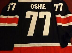"""Washington Capitals T. J. Oshie Navy """"All Caps""""  Jersey Size 52"""
