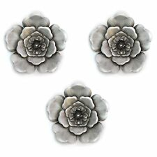 Silver Wall Flowers (Set of 3) Hanging Interior Wall Art Home Decor