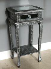 Embossed Metal & Mirrored Glass Bedside Chest Of Drawers Side Table Cabinet 73cm