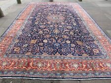 Vintage Hand Made Traditional Rug Oriental Wool Blue Red Large Carpet 438x289cm
