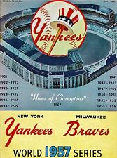 1957 BRAVES VS YANKEES WORLD SERIES PROGRAM COVER. PHOTO OF  COVER  7X10