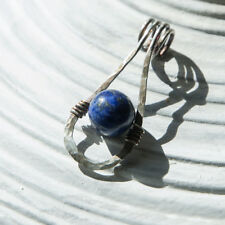 sterling silver 925 blue lapis lazuli handmade wire hammered oxidized pendant