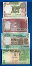 India 1 2 5 5 Rupees Rig Tiger Farmer Gandhi a/Unc & Unc Banknotes Set # 4