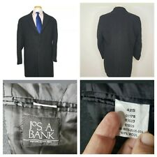 Jos A Bank Mens Charcoal Gray 100% Wool 3 Button Vented Lined Overcoat 42 Short