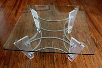 Vintage Charles Hollis Jones Chrome, Lucite, and Glass Coffee table