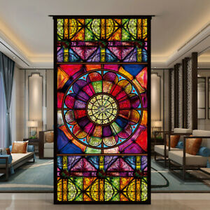 DIY Self-adhesive Window Films Translucent Chapel Stained Glass Sticker Art Deco