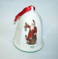 Pfaltzgraff Merry Christmas Bell with Old World Santa Claus Dated 1993