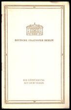 Theaterprogramm, Deutsche Staatsoper Berlin, Die Entführung aus dem Serail, 1957