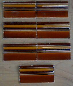 PILKINGTON - 7 ANTIQUE ART NOUVEAU MAJOLICA BORDER TILE C1900