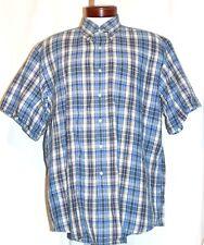 Men's Brooks Brothers Sport Shirt Blue & White Plaid Linen Blend Button Down L