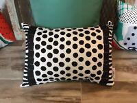 Outdoor Lumbar Pillows NWT SET of THREE Crate & Barrel Paola Navone Black/White