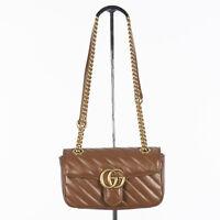 GUCCI 1980$ GG Marmont Mini Matelassé Shoulder Bag In Brown Leather
