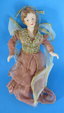 Christmas Lady Ceramic Head & Arms with Flexible Fabric Body Ornament