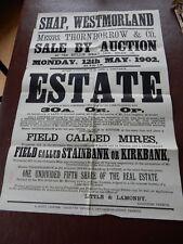 Shap Westmoreland Historic Poster rare survivor poor condition 1902