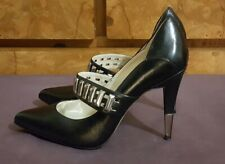 MISS SIXTY POINTED TOE MARY JANE BLACK LEATHER STILETTO HEELS SHOES ~ 36.5/6.5