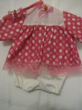 "White and pink polka dot dress, panties & headband 15-16"" baby dolls"