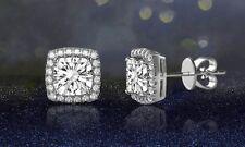 925 Sterling Silver 6mm CZ Square Halo Drop Stud Earrings Women Jewellery Boxed