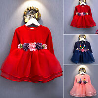 Fashion Infant Baby Girl Kid Dress Long Sleeve Autumn Floral Clothes Tutu Outfit