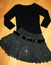 GIRLS BLACK TOP & GREY SPARKLE PRINT RUFFLE COSPLAY SKATER PARTY SKIRT age 11-12