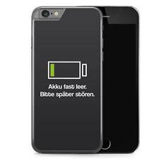 iPhone 6 6s Hard Case Hülle - Akku fast Leer Bitte später stören Grau Motiv Des