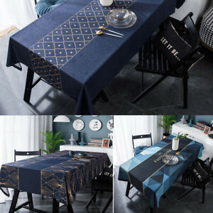 Rectangular Tablecloth Polyester Table Cloth Cover Kitchen Dinning Party 7 Sizes
