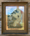 Antique Victorian Silk Needle Work Tapestry Picture in Glazed Gesso Framed c1860