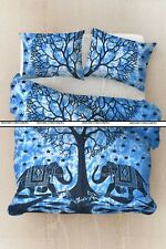 Bedding Queen Size Duvet Cover With Pillowcase Elephant Heart Tree Blue Color